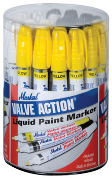Markal Valve Action Paint Marker Counter Displays, White; Yellow; Black (1 CL/DZ)