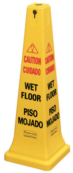 "Newell Rubbermaid Safety Cones, Multi-Lingual ""Wet Floor"", 36 in, Yellow (1 EA/PR)"
