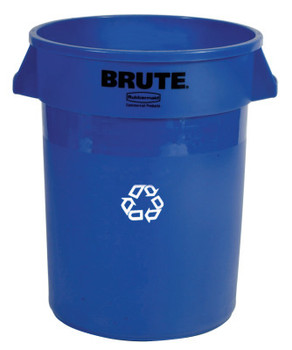 Newell Rubbermaid Brute Recycling Containers, 32 gal, Plastic, Blue (1 EA/EA)