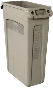 Newell Rubbermaid Slim Jim with Venting Channels, 23 gal, Resin, Beige (4 CA/EA)