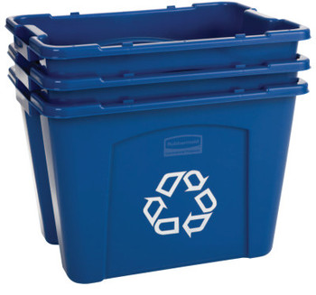 Newell Rubbermaid Recycling Boxes, 14 gal, 16 in x 21 in x 14 3/4 in, Blue (1 EA/CA)