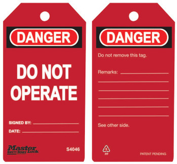 Master Lock Guardian Extreme Safety Tags, 5 3/4 x 3 in, Danger - Do Not Operate, Red (6 PK/EA)