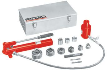 Ridgid Tool Company Hydraulic Knockout Sets, 2 in, Hand Pump, Draw Bolts, Draw Bar, Hose (1 KIT/PKG)