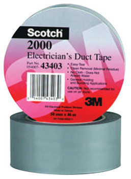 3M Scotch Electricians Duct Tapes 2000, Gray, 2 in x 50 yd x 6 mil (1 ROL/EA)