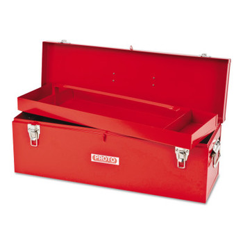 Stanley Products General Purpose Tool Box, Double Latch, 26 in x 8 1/2 in x 9 1/2 in, Steel, Red (1 EA/PKG)