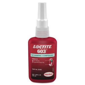 LOCTITE 603 Retaining Compound Oil Tolerant, 50 mL Bottle, Green, 3,770 psi (1 BTL/EA)