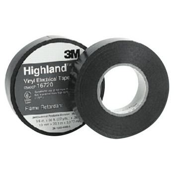 3M Highland Vinyl Commercial Grade Electrical Tapes, 66 ft x 3/4 in, Black (1 ROL/PR)