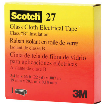 3M Scotch Glass Cloth Electrical Tapes 27, 66 ft x 3/4 in, White (1 RL/EA)