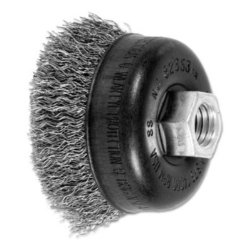 Advance Brush Mini Crimped Cup Brush, 2 3/4 in Dia., 5/8-11 Arbor, .014 Stainless Steel Wire (1 EA/EA)