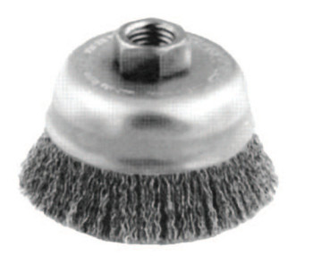 Advance Brush Crimped Cup Brush, 6 in Dia., 5/8-11 Arbor, 0.014 in Steel Wire (1 EA/BOX)