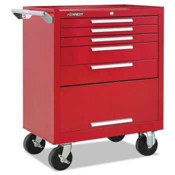 Kennedy Industrial Series Roller Cabinets, 27 in x 18 in x 35 in, 5 Drawers, Red w/Slide (1 EA/EA)