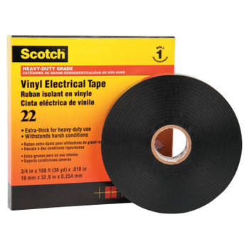 3M Scotch Heavy-Duty Vinyl Insulation Tapes 22, 36 yd x 3/4 in, Black (1 ROL/CTN)