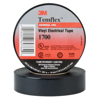 3M Temflex Friction Tape, 3/4 in X 60 ft, 13 mil, Black (20 CA/CTN)