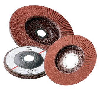 3M Abrasive Flap Discs 747D, 4 1/2 in, 50 Grit, 7/8 in Arbor, 13,300 rpm (10 CS/EA)