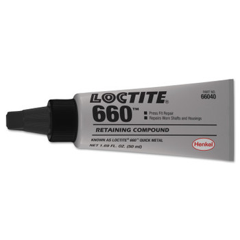 LOCTITE 660 Quick Metal Retaining Compound, 6 mL Tube, Silver, 3,300 psi (10 TUBE/AST)