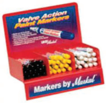 Markal Valve Action Paint Marker Counter Displays, White (1 DSP/EA)