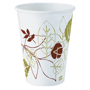 Dixie Pathways Hot Paper Cups, 12 oz, White/Green/Brown, 50/Sleeve (1000 CA/EA)