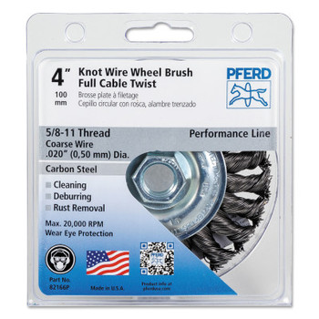 Advance Brush Full Cable Twist Knot Wheel, 4 in D, .02 in Carbon Steel Wire, 20,000 rpm (1 EA/EA)