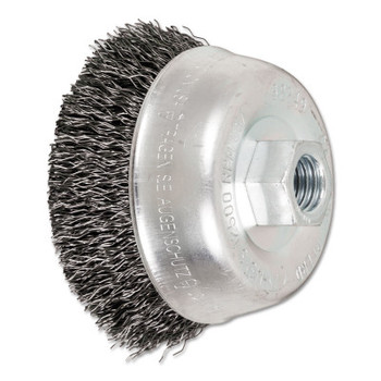 Advance Brush Mini Crimped Cup Brush, 3 in Dia., 5/8-11 Arbor, .014 in Steel Wire (1 EA/CA)