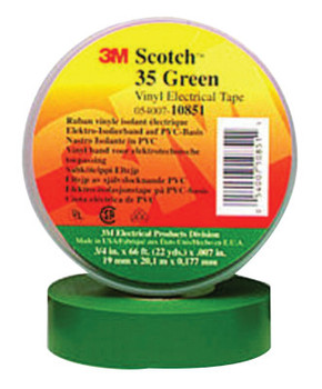 3M Scotch Vinyl Electrical Color Coding Tapes 35, Green (1 RL/EA)