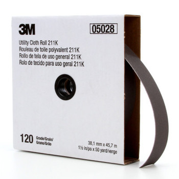 3M 211K Utility Cloth Rolls, 1 1/2 in, 50 yd, 120 grit (1 EA/EA)