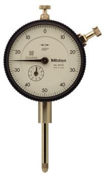 Mitutoyo Series 2 Standard Dial Indicators, 0-50-0 Dial, 1 in Range, 0.1 Range/Revolution (1 EA/ST)