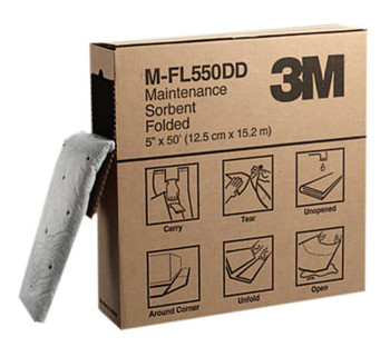 3M High-Capacity Maintenance Folded Sorbents, Absorbs 1.5 gal, 5.187 in x 2 1/4 in (3 CA/CA)