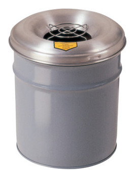 Justrite Cease-Fire Smoking Receptacles, 4 1/2 gal, 16 in h, Gray (1 EA/CS)