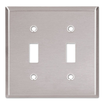 Cooper Wiring Devices WALLPLATE 2G TOGGLE RECEPTACLE MID SS (10 EA/CA)