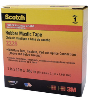 3M Scotch Rubber Mastic Tapes 2228, 2 in x 10 ft, 65 mil, Black (1 ROL/EA)