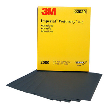 3M Wetordry Paper Sheets, Silicon Carbide, 2000 Grit, 9 x 11 in (250 CS/BAG)
