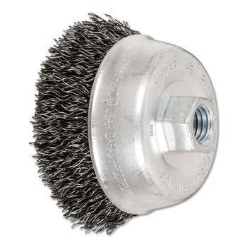 Advance Brush Mini Crimped Cup Brush, 3 1/2 in Dia., 5/8-11 Arbor, .02 in Steel Wire (1 EA/BOX)