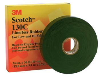 3M Scotch Linerless Splicing Tapes 130C, 30 ft x 3/4 in, Black (1 ROL/BOX)