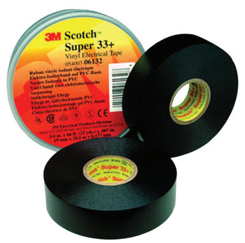 3M Scotch Super Vinyl Electrical Tapes 33+, 44 ft x 3/4 in, Black (1 RL/EA)