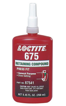 LOCTITE 675 Retaining Compound, Medium Strength, 250 mL Bottle, Green, 3,000 psi (1 BTL/EA)