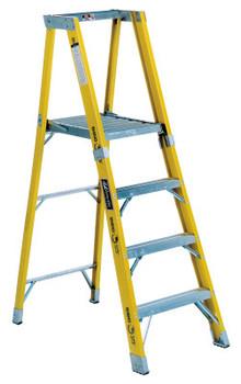 Louisville Ladder FP1100HD Series Rhino 375 Fiberglass Platform Step Ladder, 4 ft x 24 1/4 in (1 EA/BOX)