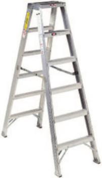 Louisville Ladder AM1000 Series Aluminum Twin Front Step Ladder, 16 ft x 37 3/4 in, 300 lb Cap. (1 EA/BOX)