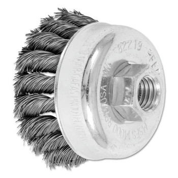 Advance Brush Mini Knot Cup Brush, 2 3/4 in Dia., 5/8-11 Arbor, .014 in Carbon Steel Wire (5 EA/EA)