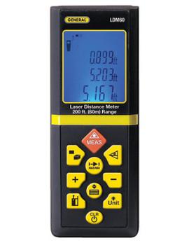 General Tools LDM60 Laser Distance Meters, 200 ft (1 EA/EA)