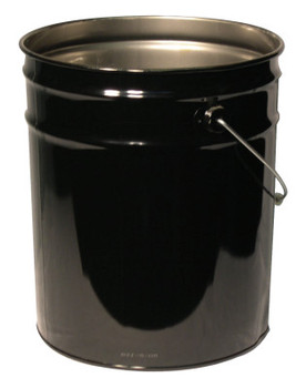 Freund Unlined Open Head Steel Pail, 5 Gallon, 10.9 in Cap, Black (1 EA/EA)