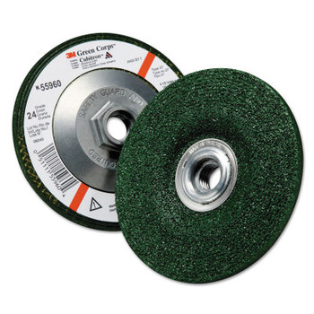 3M Green Corps Depressed Center Wheel, 4 1/2 in Dia, 1/4 Thick, 5/8 Arbor, 24 Grit (10 BOX/EA)