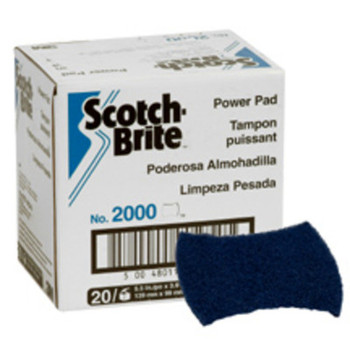 3M Scotch-Brite 2000 Power Pads, Dark Blue, Commercial Kitchen Cleaning (20 CS/EA)