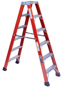 Louisville Ladder FM1400HD Series Brute 375 Twin Front Fiberglass Ladder, 6 ft x 54 in (1 EA/BOX)
