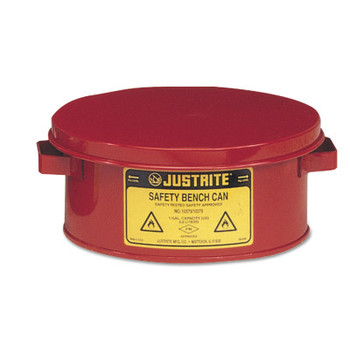 Justrite Bench Cans, Hazardous Liquid Cleaning Can, 1 gal, Red (1 CAN/BOX)