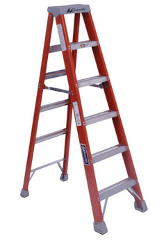 Louisville Ladder FM1500 Series Fiberglass Twin Front Ladder, 6 ft x 21 7/8 in, 300 lb Capacity (1 EA/BOX)