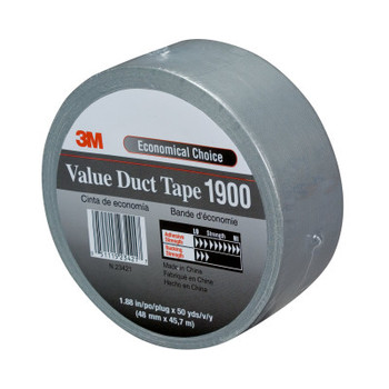 3M Value Duct Tapes 1900, Silver, 5.15 in x 2.83 in (12 RL/BOX)