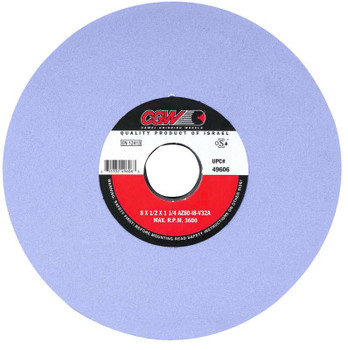 "CGW Abrasives AZ Cool Blue Surface Grinding Wheels, Type 1, 10 X 1, 3"" Arbor, 60, K (1 EA/BOX)"