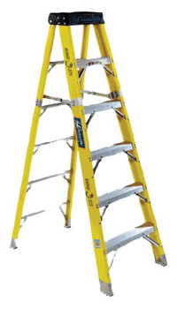 Louisville Ladder FS1100HD Series Rhino 375 Fiberglass Step Ladder, 6 ft x 24 in, 375 lb Capacity (1 EA/BOX)