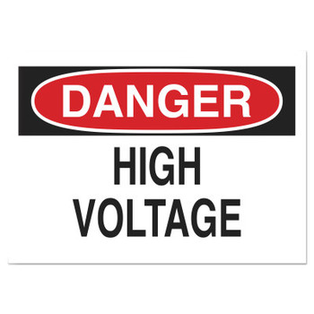 Brady Health & Safety Signs, Danger - High Voltage, 10X14 Polyester Sticker (1 EA/BOX)