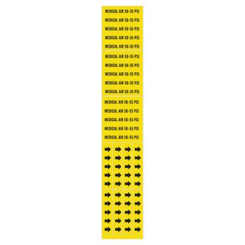Brady Medical Gas Pipe Markers, Medical Air 50-55 PSI, Black on Yellow, 2 1/4 x 2 3/4 (1 CG/BOX)